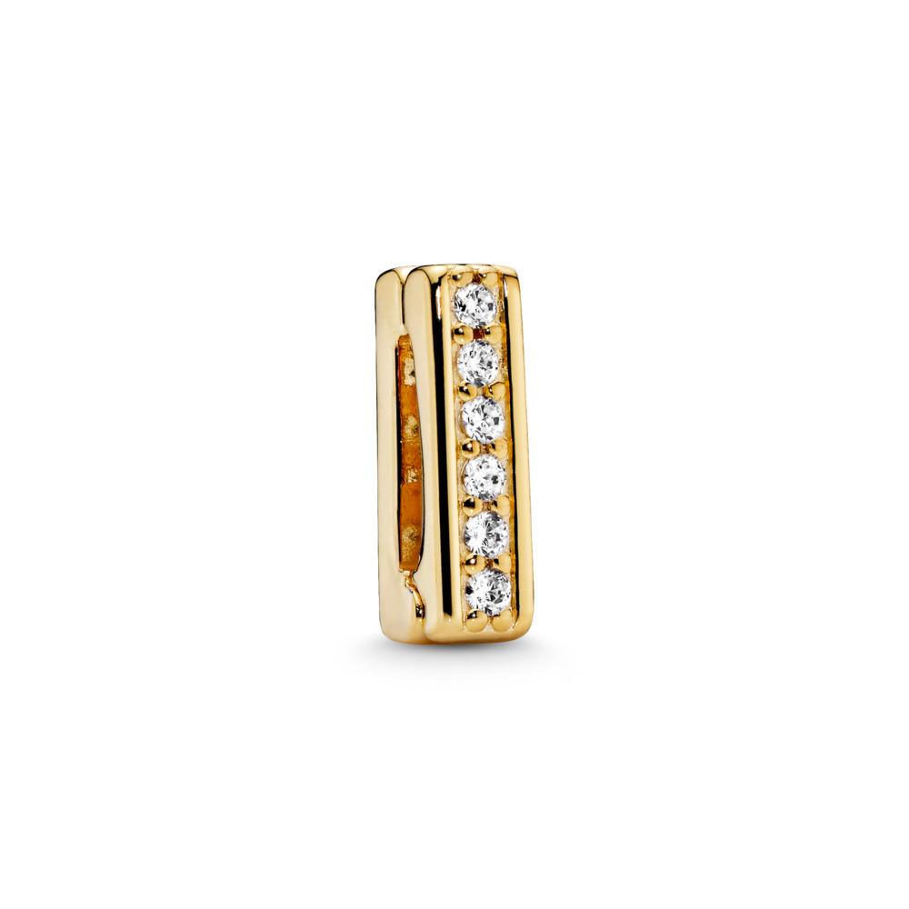PANDORA Reflexions™ Timeless Sparkle Clip Charm, PANDORA Shine™ & Clear CZ, 18ct Gold Plated, Silicone, Cubic Zirconia - PANDORA - #767633CZ