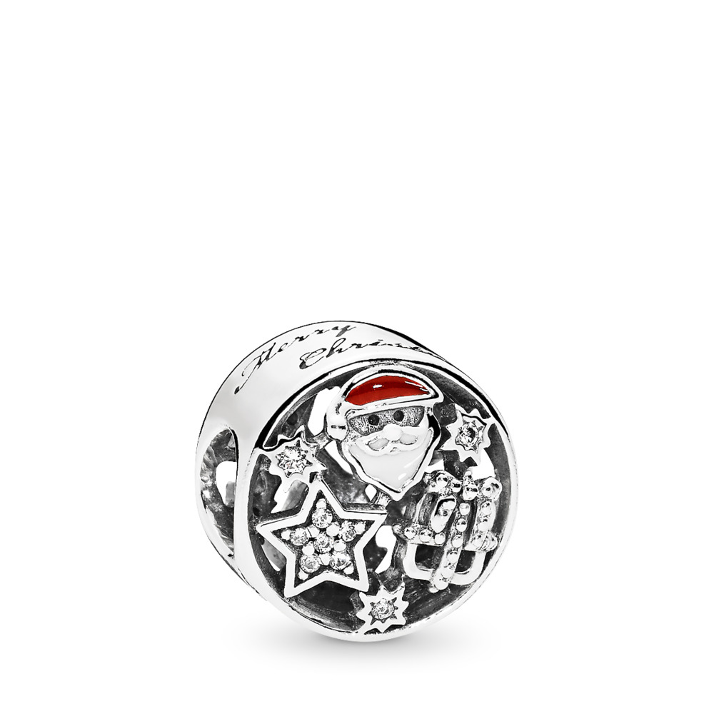Christmas Joy Charm, Mixed Enamel & Clear CZ, Sterling silver, Enamel, Red, Cubic Zirconia - PANDORA - #796364CZ