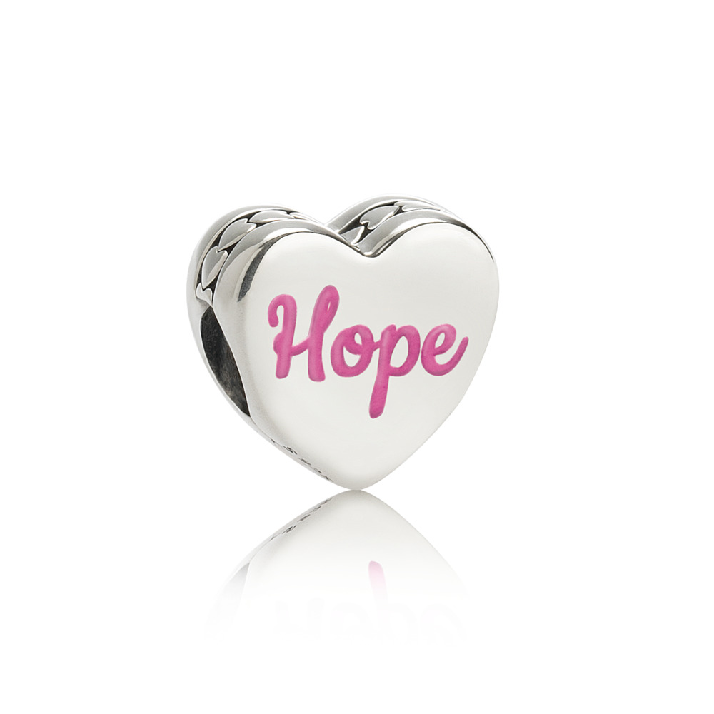 Hope Ribbon Charm, Pink Enamel, Sterling silver - PANDORA - #ENG792015_1