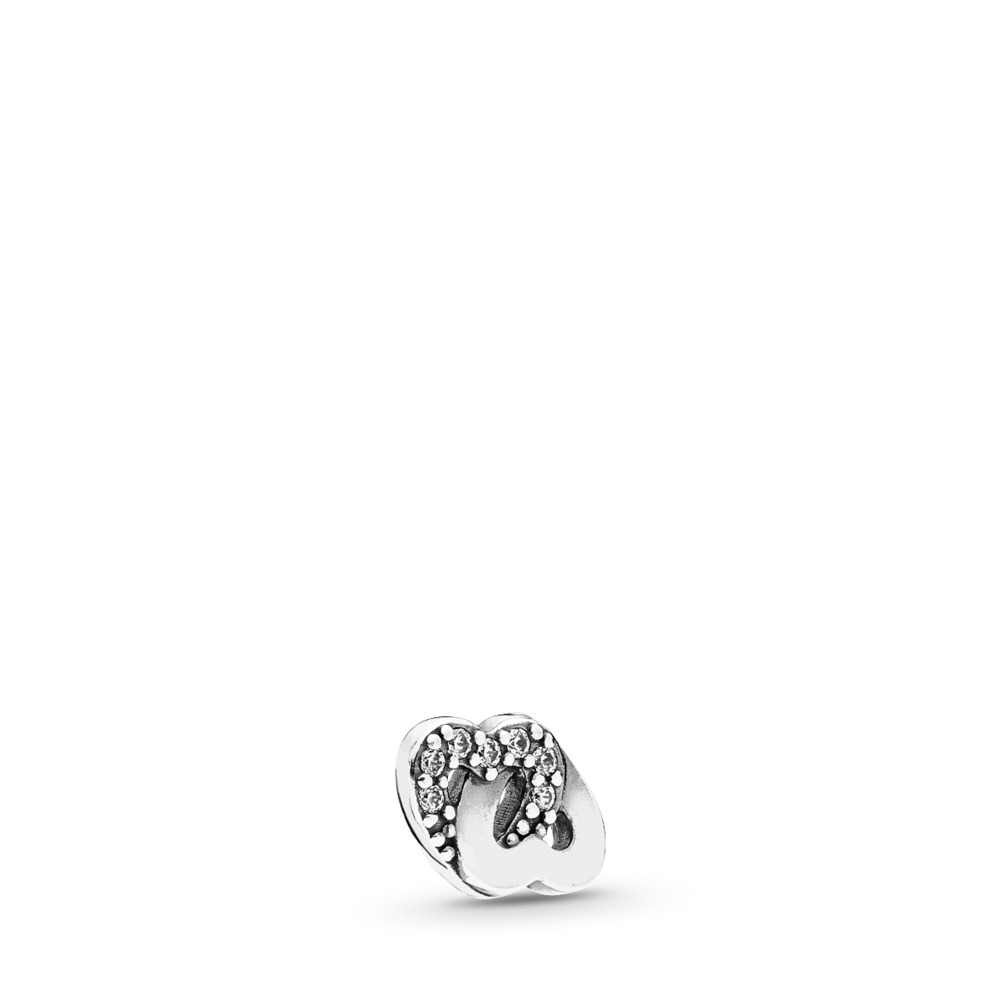 Entwined Love Petite Locket Charm, Sterling silver, Cubic Zirconia - PANDORA - #792164CZ