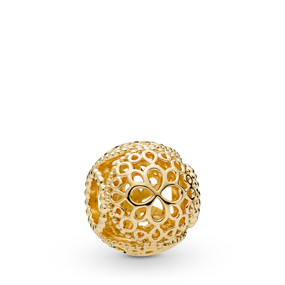 Openwork Flower Charm, Pandora Shine™, 18ct Gold Plated - PANDORA - #767853