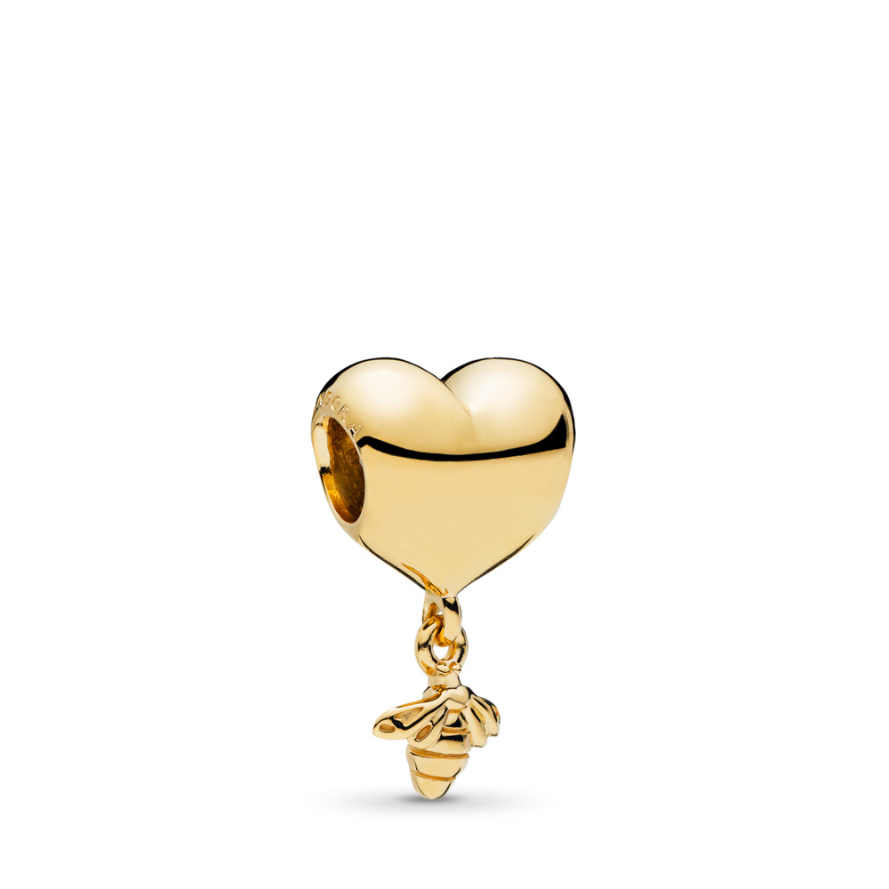 Heart & Bee Charm, PANDORA Shine™, 18ct Gold Plated - PANDORA - #767022
