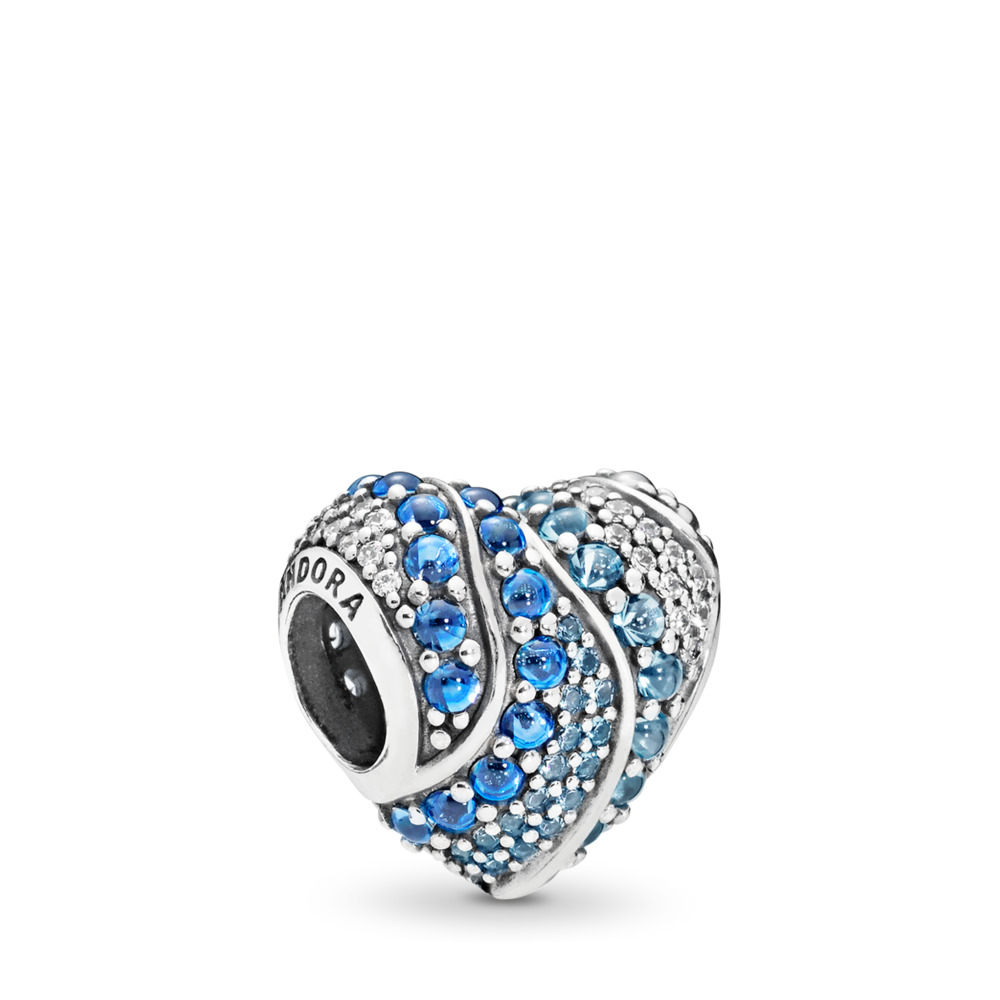 Aqua Heart Charm, Aqua & London Blue Crystals & Clear CZ, Sterling silver, Blue, Mixed stones - PANDORA - #797015NABMX