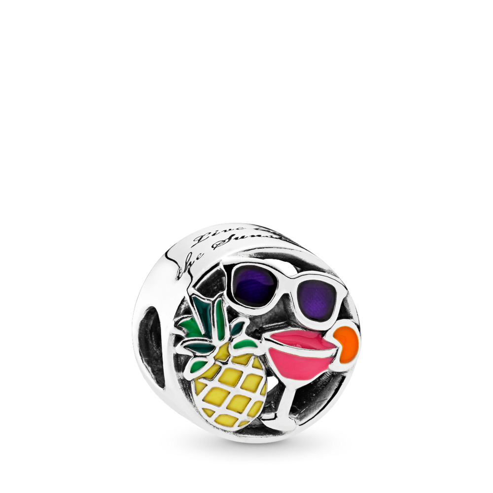 Summer Fun Charm, Mixed Enamel, Sterling silver, Enamel, Blue - PANDORA - #792118ENMX