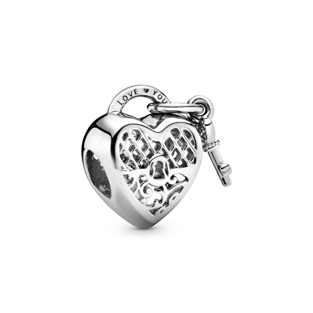 Love You Lock Charm, Sterling silver - PANDORA - #797655