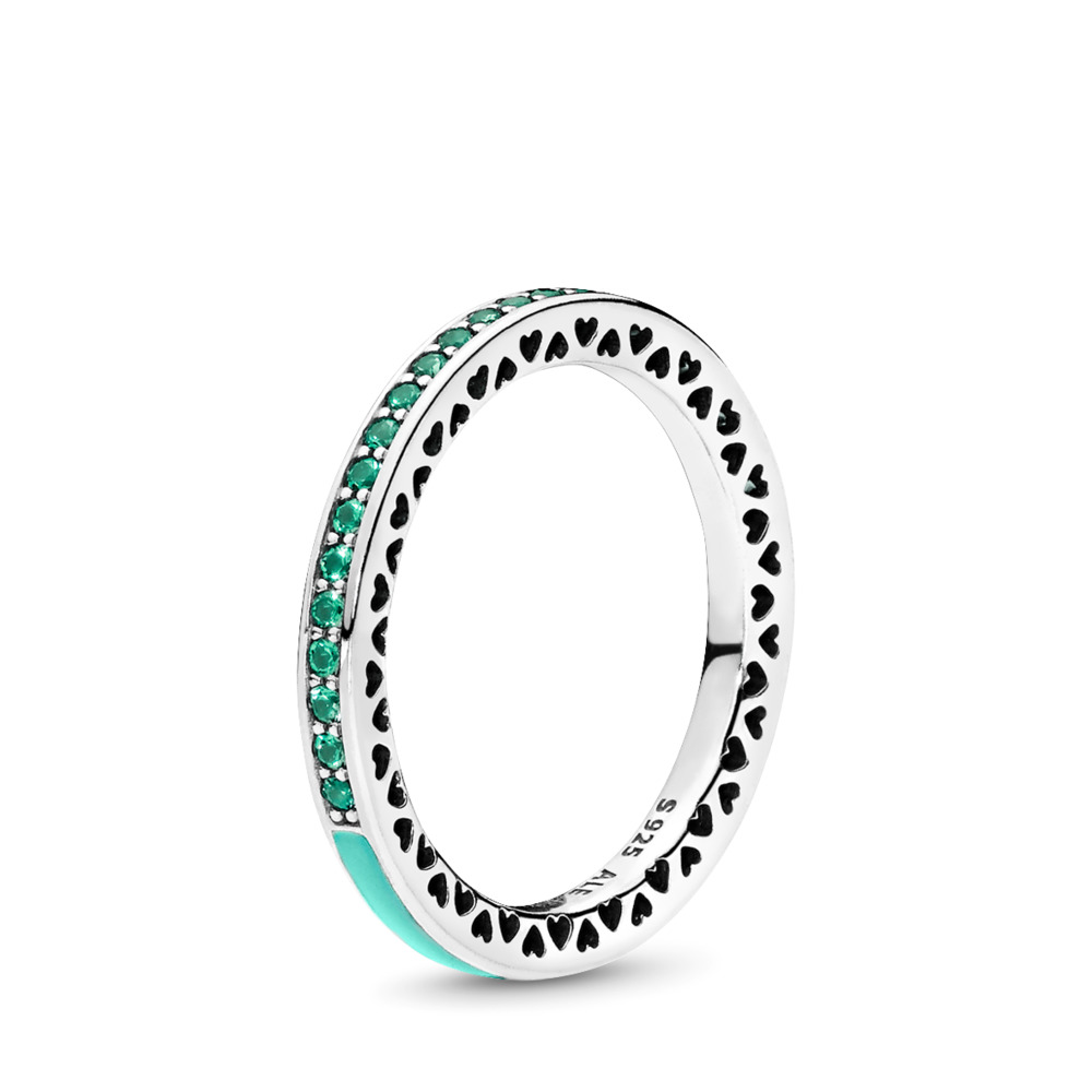 Radiant Hearts of PANDORA Ring, Bright Mint Enamel & Royal Green Crystals, Sterling silver, Enamel, Green, Crystal - PANDORA - #191011NRG