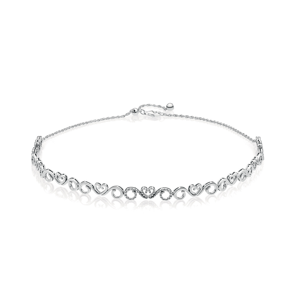 Heart Swirls Choker Necklace, Clear CZ