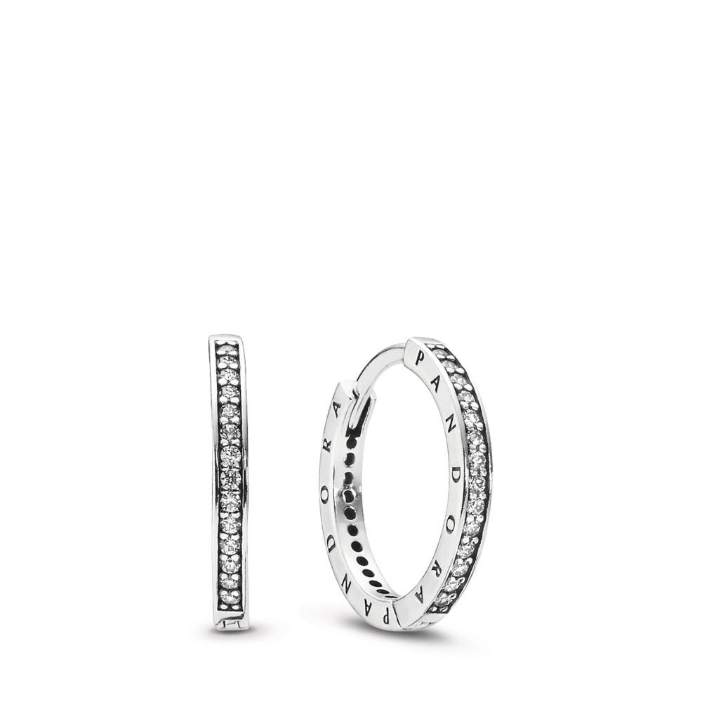 PANDORA Signature Hoop Earrings, Clear CZ, Sterling silver, Cubic Zirconia - PANDORA - #290558CZ