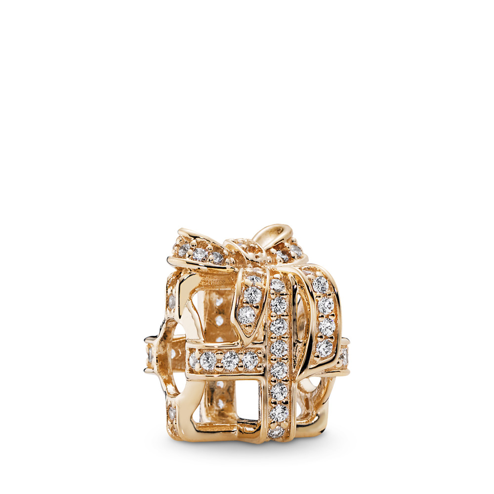 All Wrapped Up Charm, Clear CZ & 14K Gold, Yellow Gold 14 k, Cubic Zirconia - PANDORA - #750839CZ