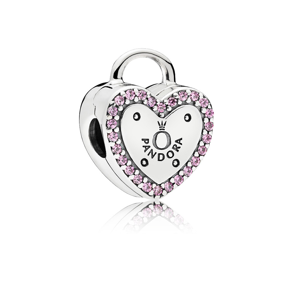 Lock Your Promise Clip, Fancy Fuchsia Pink CZ