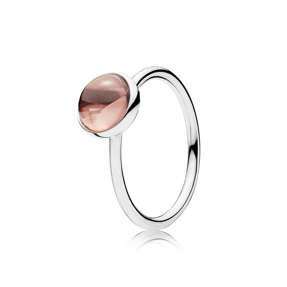 Poetic Droplet Ring, Blush Pink Crystal, Sterling silver, Pink, Crystal - PANDORA - #191027NBP