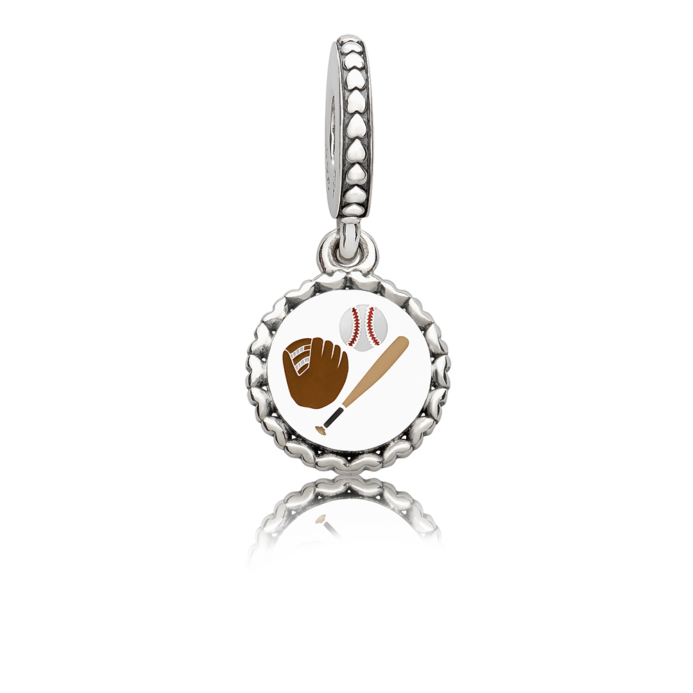 Baseball Dangle Charm, Mixed Enamel, Sterling Silver, Brown - PANDORA - #ENG792018_17