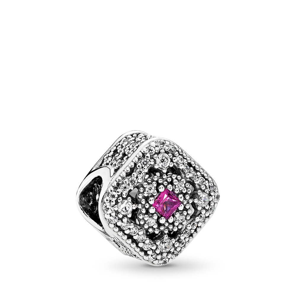 Fairytale Treasure Charm, Cerise Crystal & Clear CZ, Sterling silver, Pink, Mixed stones - PANDORA - #792013NCC