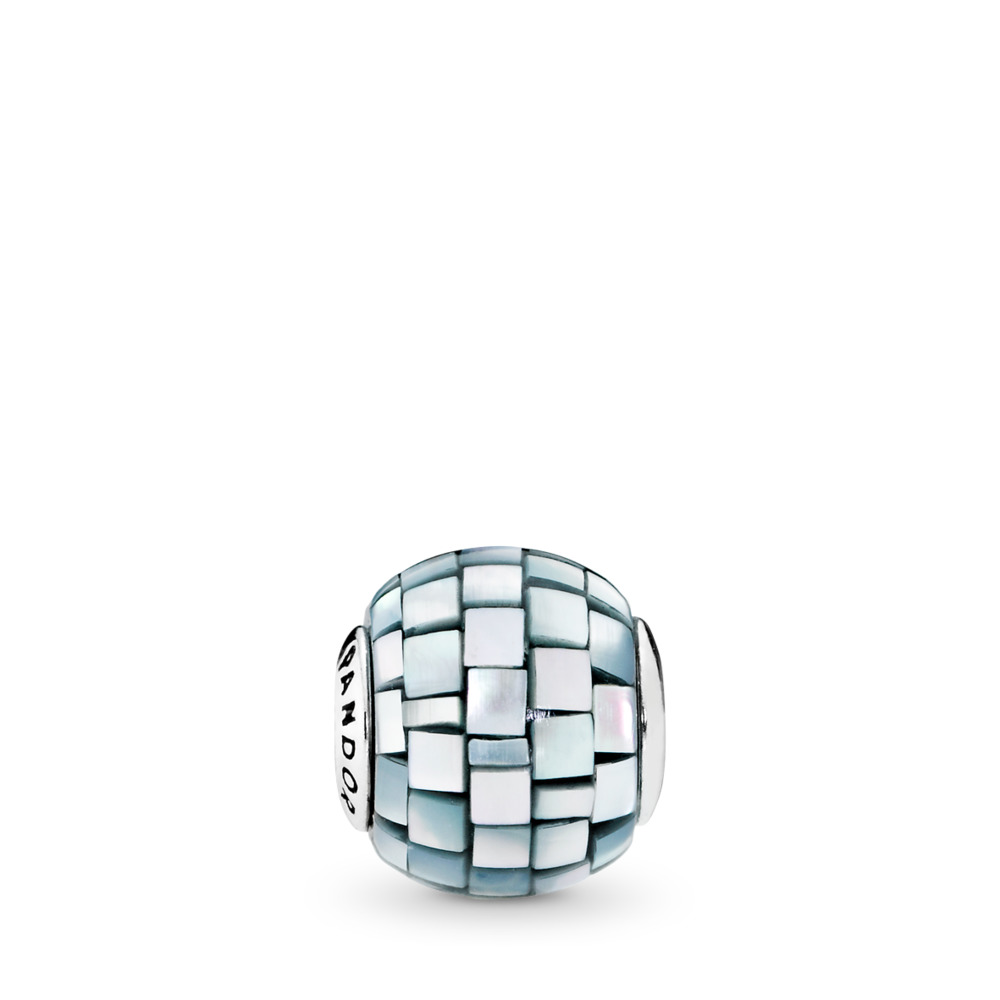 BALANCE Charm, Blue-Grey Mother-of-Pearl Mosaic, Sterling silver, Silicone, Blue, Mother of pearl - PANDORA - #796080MMB