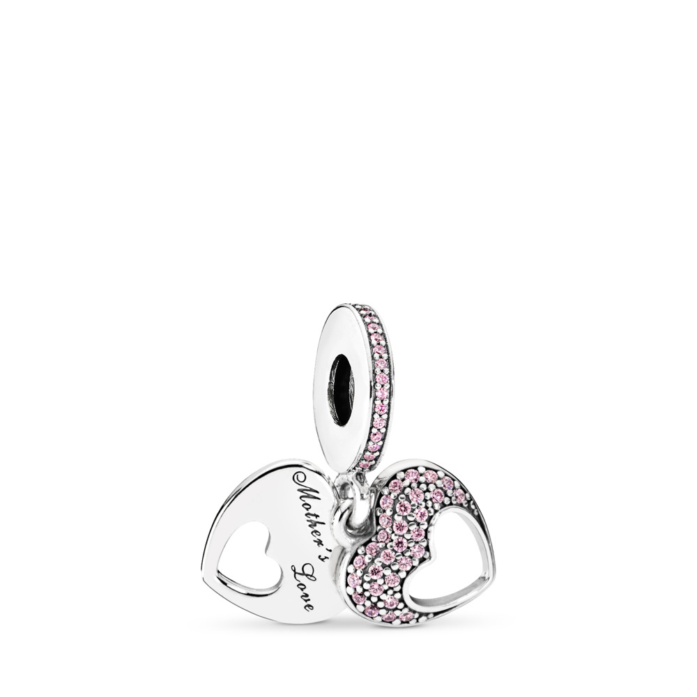 Mother's Love Hearts, Sterling silver, Pink, Cubic Zirconia - PANDORA - #792107PCZ