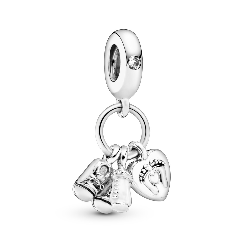My Little Baby Dangle Charm, Sterling silver, Enamel, White, Cubic Zirconia - PANDORA - #798106CZ