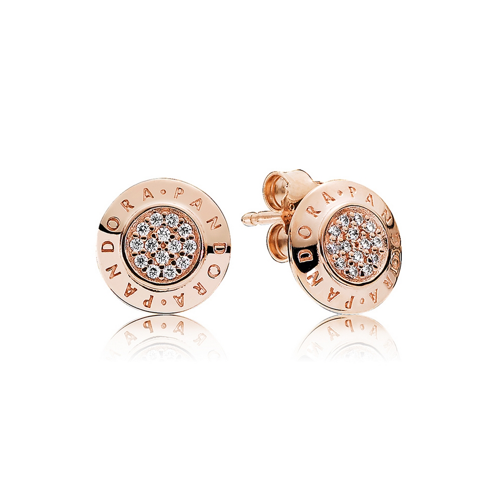PANDORA Signature Stud Earrings, PANDORA Rose™ & Clear CZ