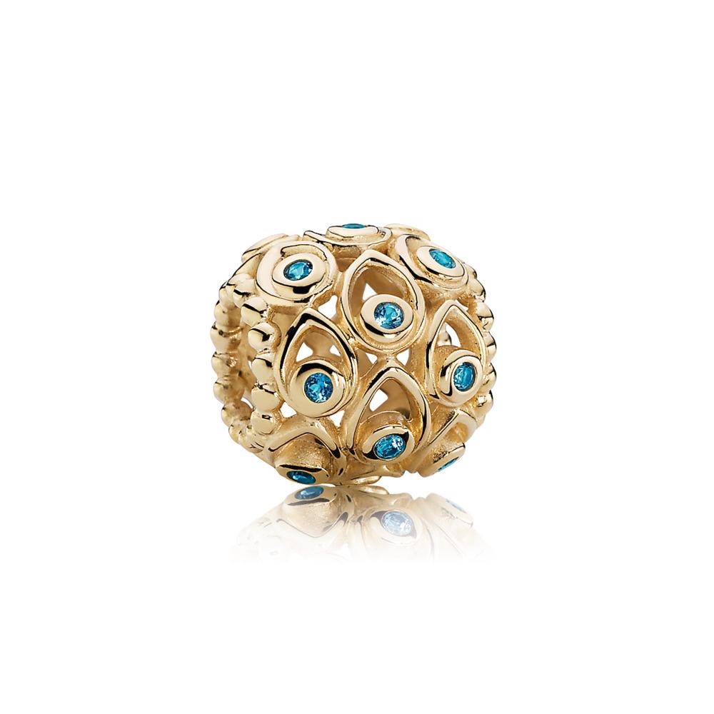 Ocean Treasures Charm, Deep Blue Topaz & 14K Gold, Yellow Gold 14 k, Turquoise, Topaz - PANDORA - #750817TPP