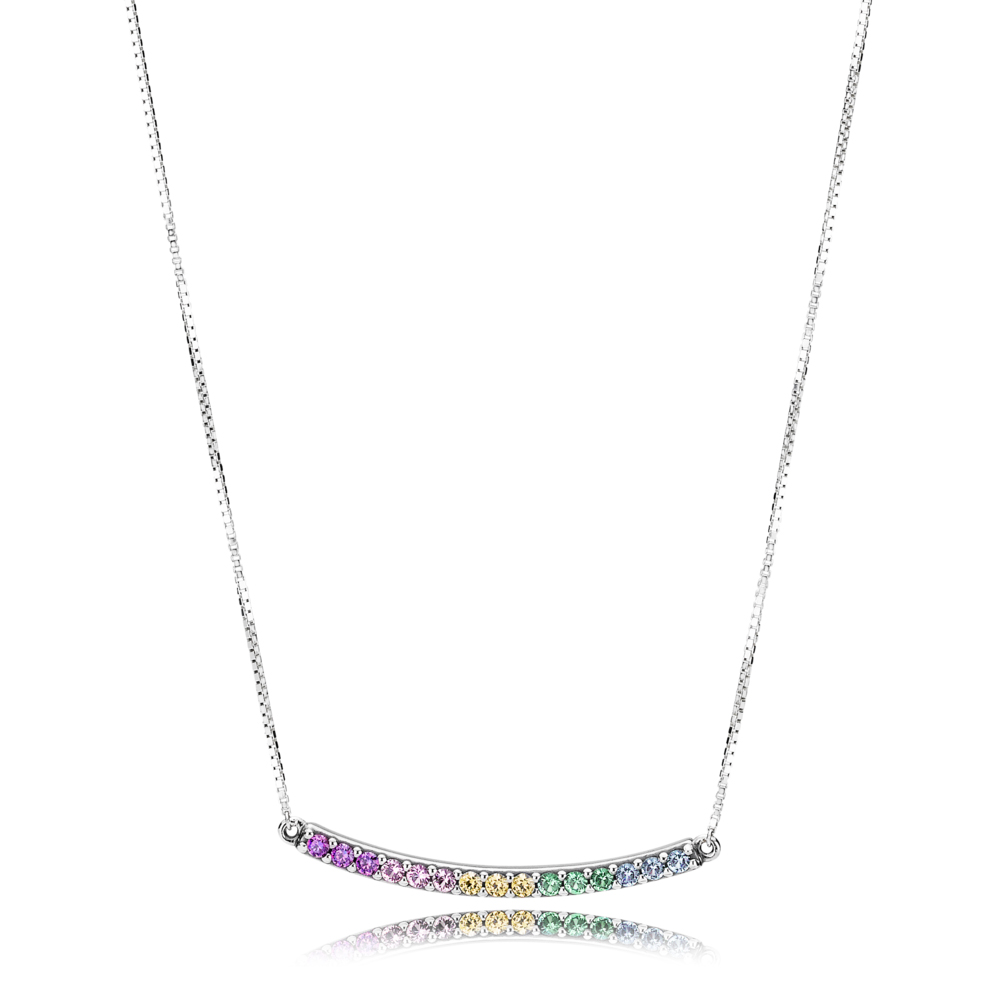Multi-Colored Curved Bar Necklace