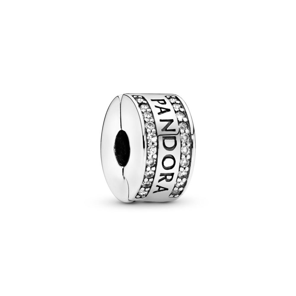 PANDORA Logo, Clear CZ, Sterling silver, Silicone, Cubic Zirconia - PANDORA - #792056CZ