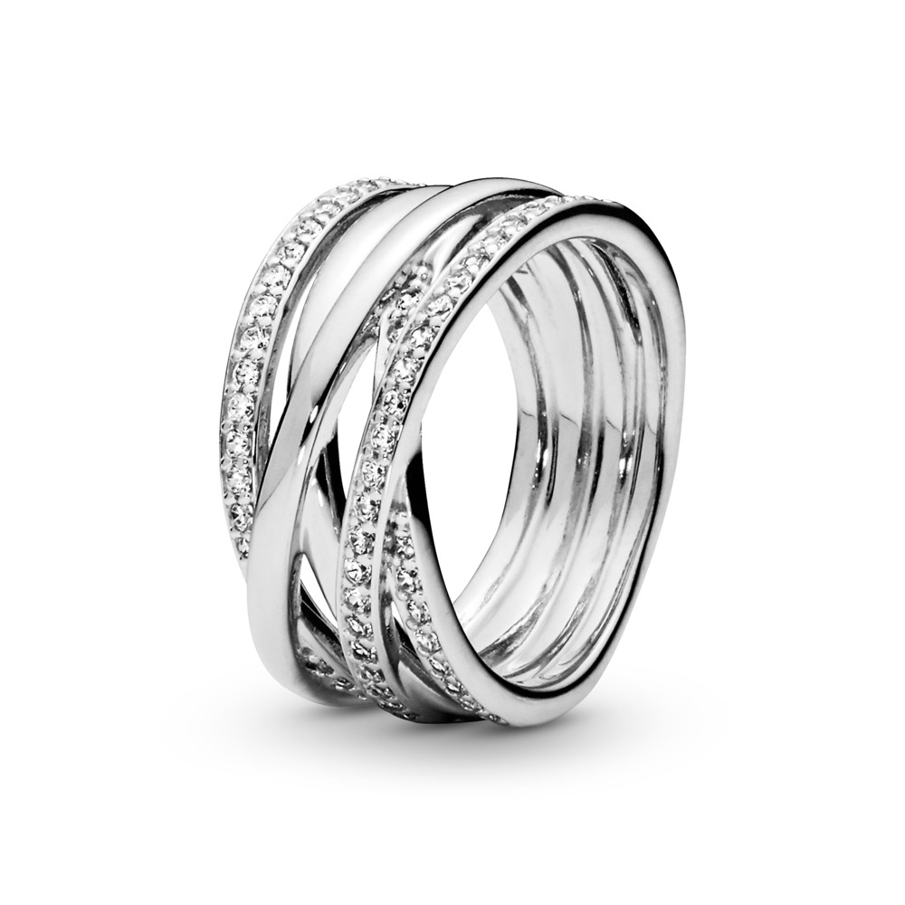 Sparkling & Polished Lines Ring, Sterling silver, Cubic Zirconia - PANDORA - #190919CZ