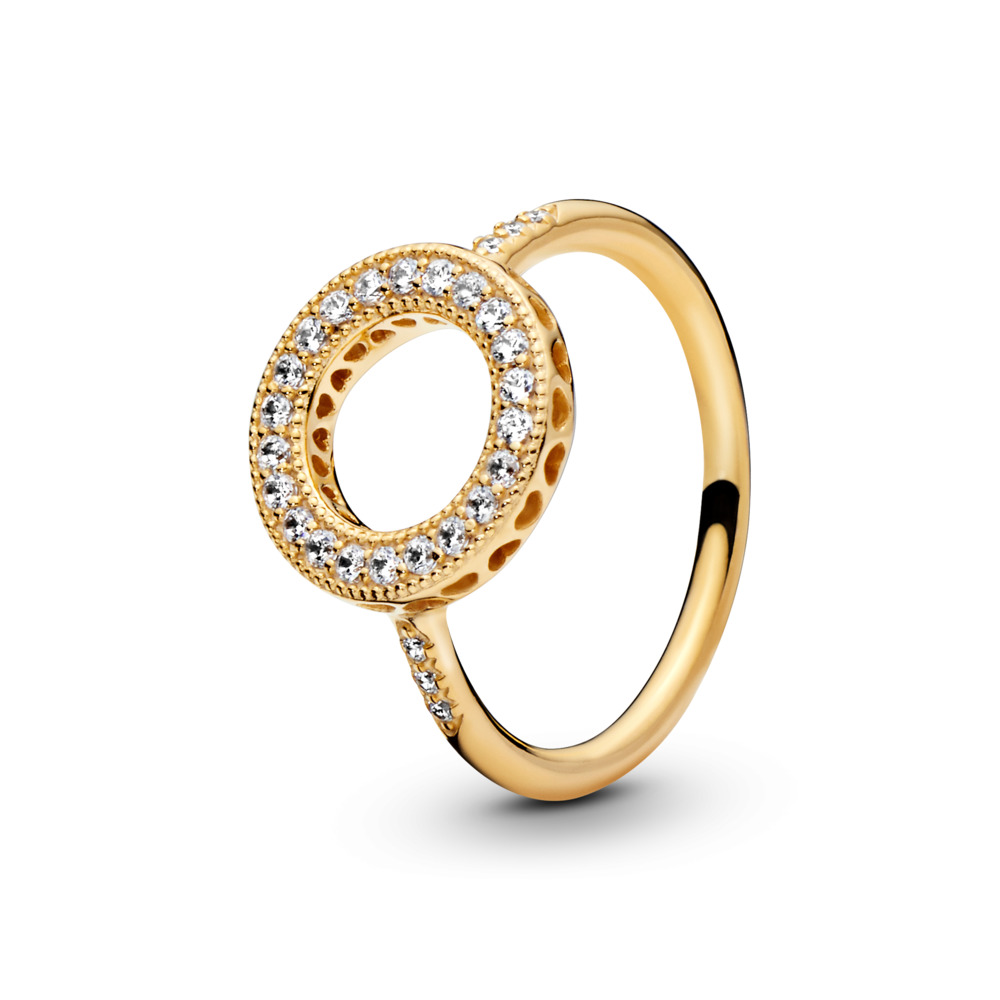 Hearts of PANDORA Halo Ring, PANDORA Shine™, 18ct Gold Plated, Cubic Zirconia - PANDORA - #167096CZ