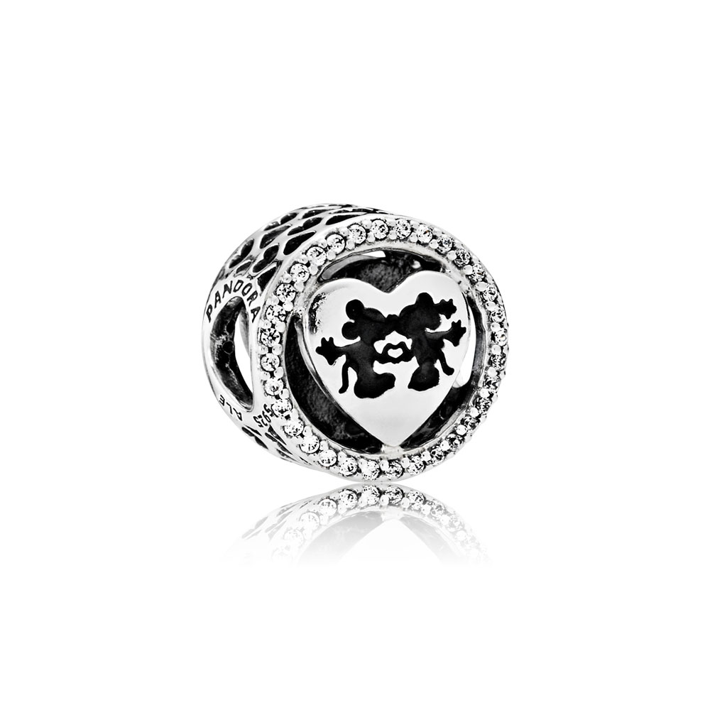 Disney, Mickey & Minnie Love, Charm Clear CZ