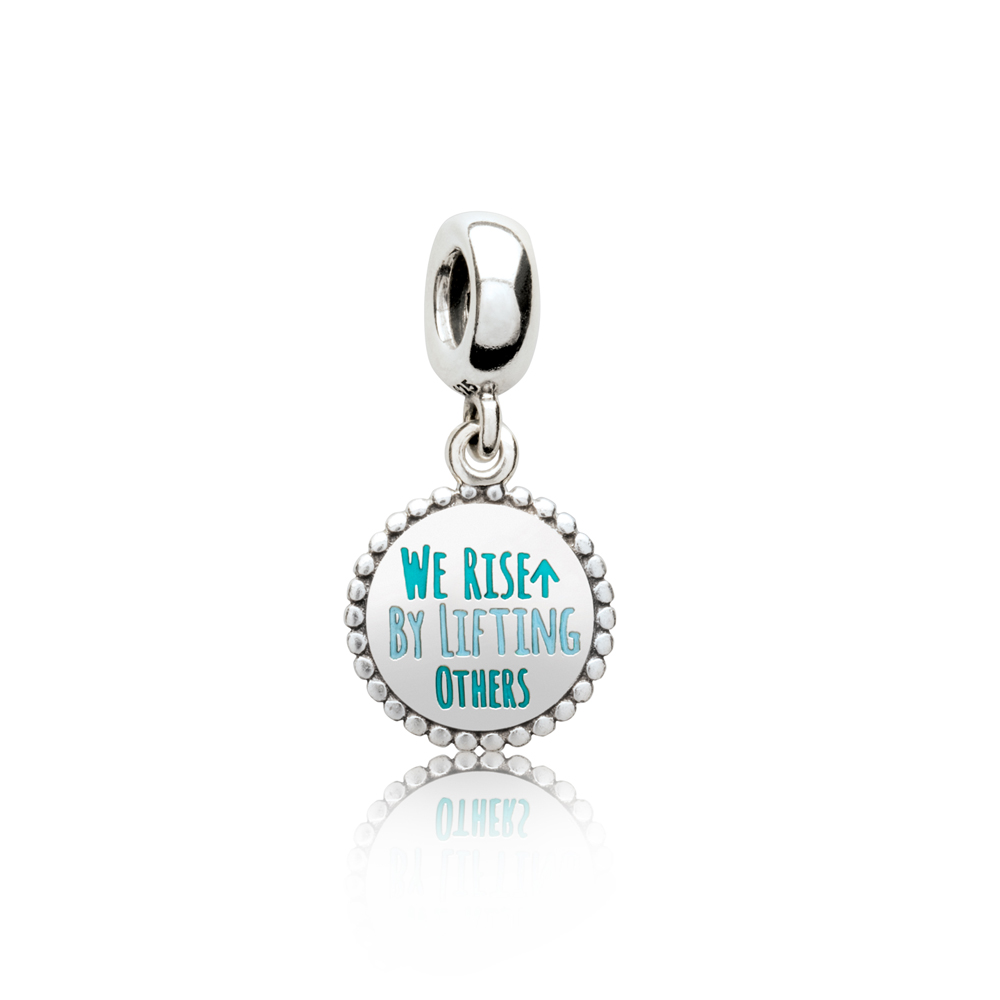 We Rise By Lifting Others Dangle Charm, Mixed Enamel