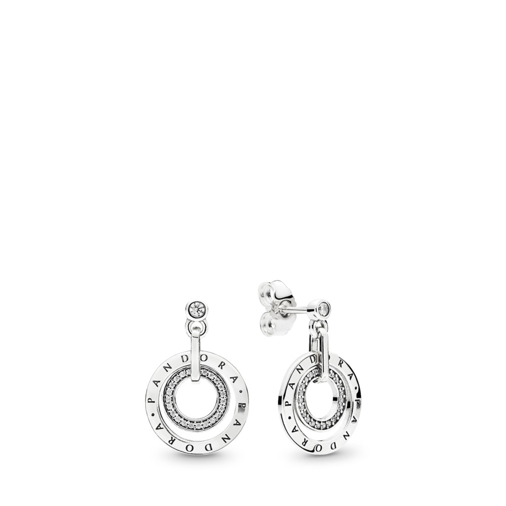 PANDORA Circles Drop Earrings, Clear CZ, Sterling silver, Cubic Zirconia - PANDORA - #296296CZ
