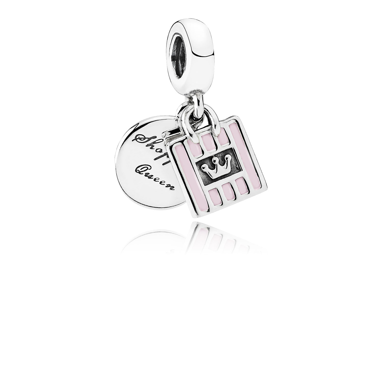 Shopping Queen Dangle Charm, Soft Pink Enamel