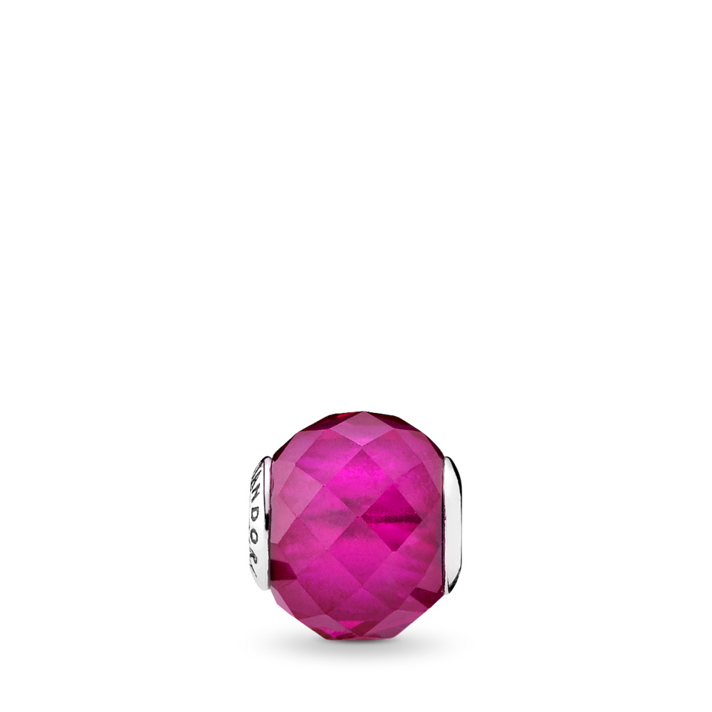 HAPPINESS Charm, Synthetic Ruby, Sterling silver, Silicone, Red, Synthetic Ruby - PANDORA - #796076SRU