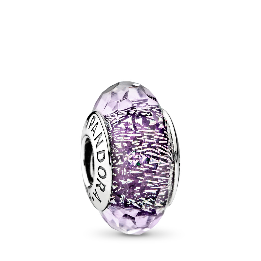 Dark Purple Shimmer Charm, Murano Glass, Sterling silver, Glass, Purple - PANDORA - #791663