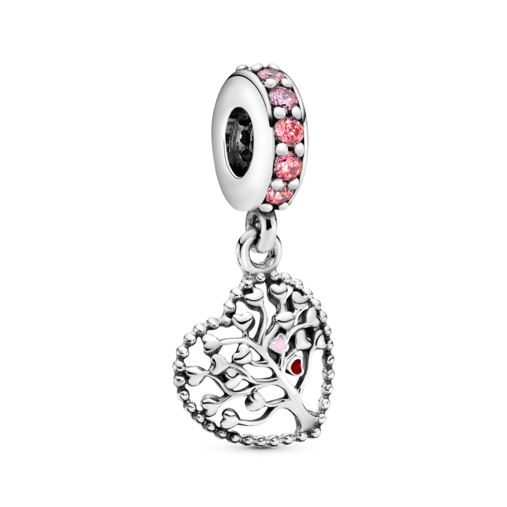 Pink Family Tree Dangle Charm, Sterling silver, Enamel, Pink, Cubic Zirconia - PANDORA - #796592CZSMX