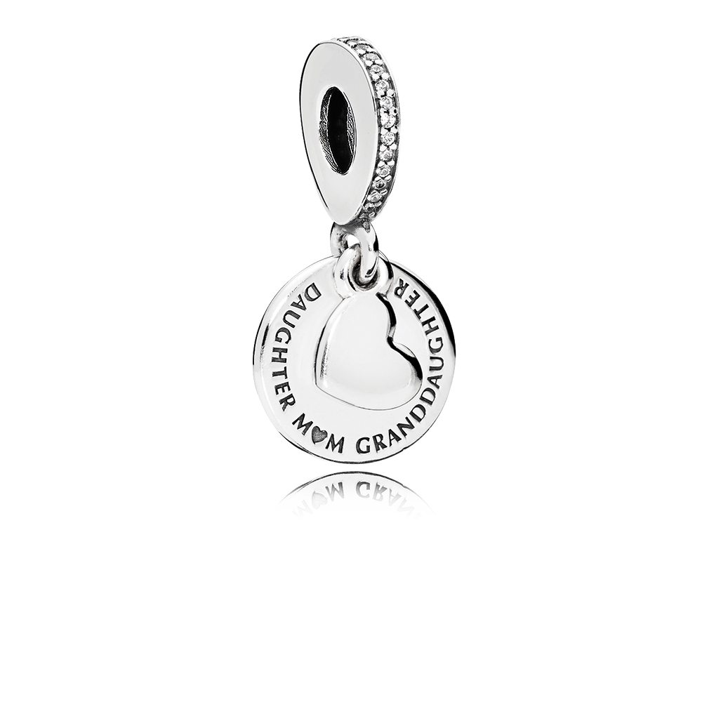 Three Generations Dangle Charm, Clear CZ