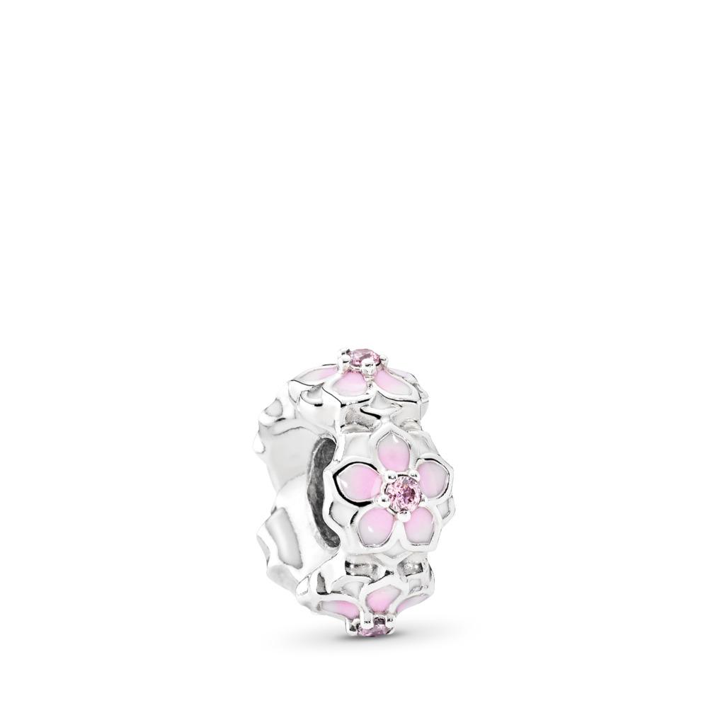 Magnolia Bloom Spacer, Pale Cerise Enamel & Pink CZ, Sterling silver, Enamel, Pink, Cubic Zirconia - PANDORA - #792088PCZ