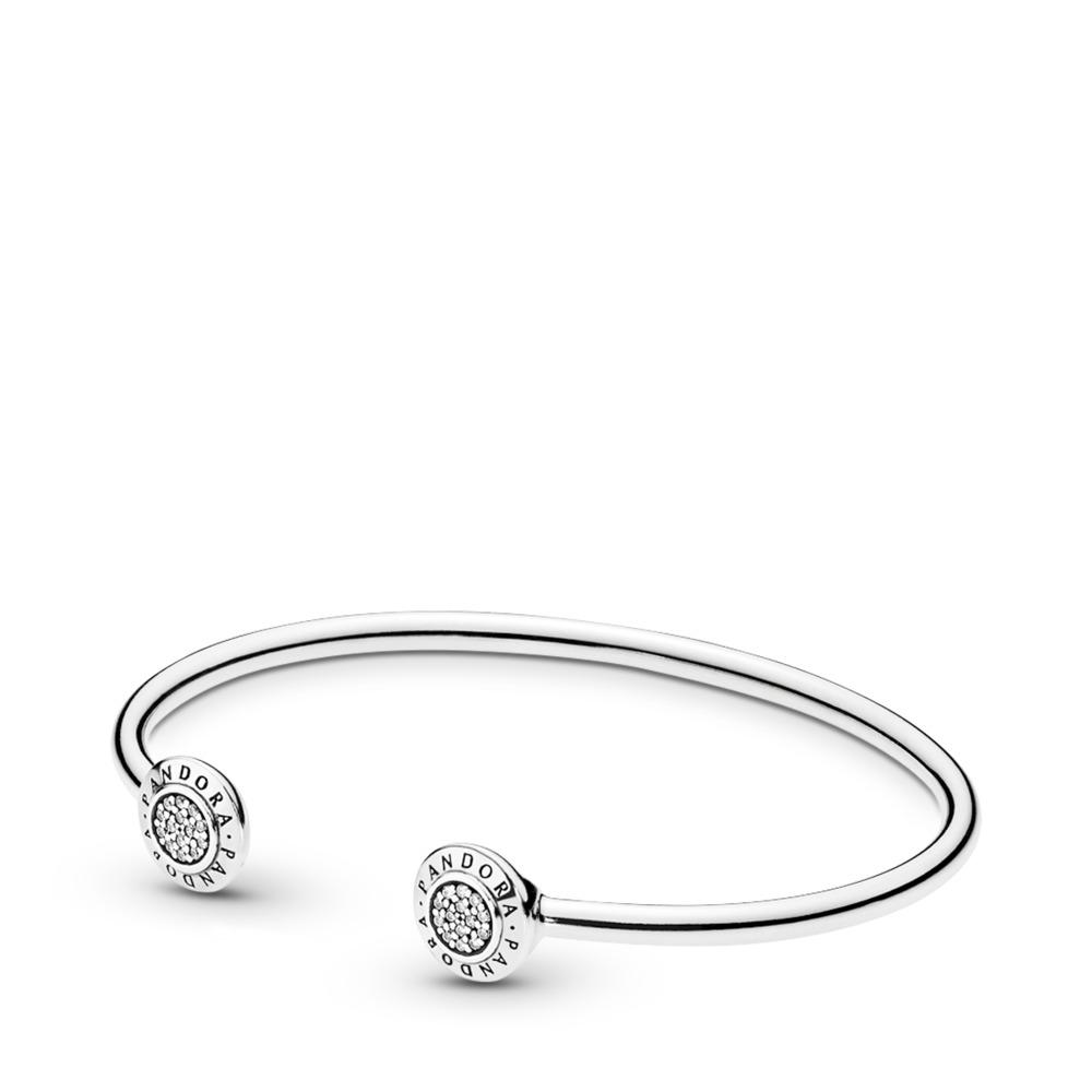 PANDORA Signature Bangle Bracelet, Clear CZ, Sterling silver, Cubic Zirconia - PANDORA - #590528CZ
