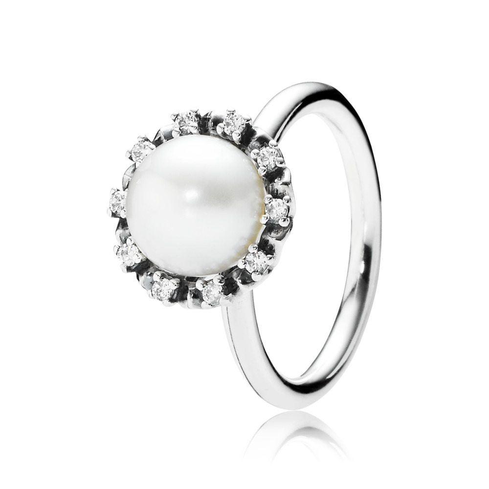 Everlasting Grace Stackable Ring, Pearl & Clear CZ, Sterling silver, Beige, Mixed stones - PANDORA - #190916P