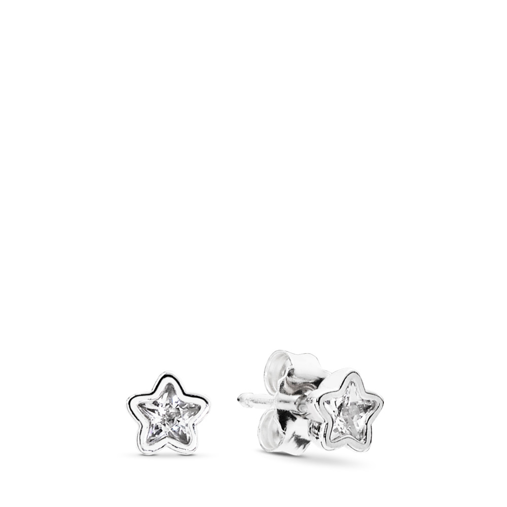 Starshine Stud Earrings, Clear CZ, Sterling silver, Cubic Zirconia - PANDORA - #290597CZ