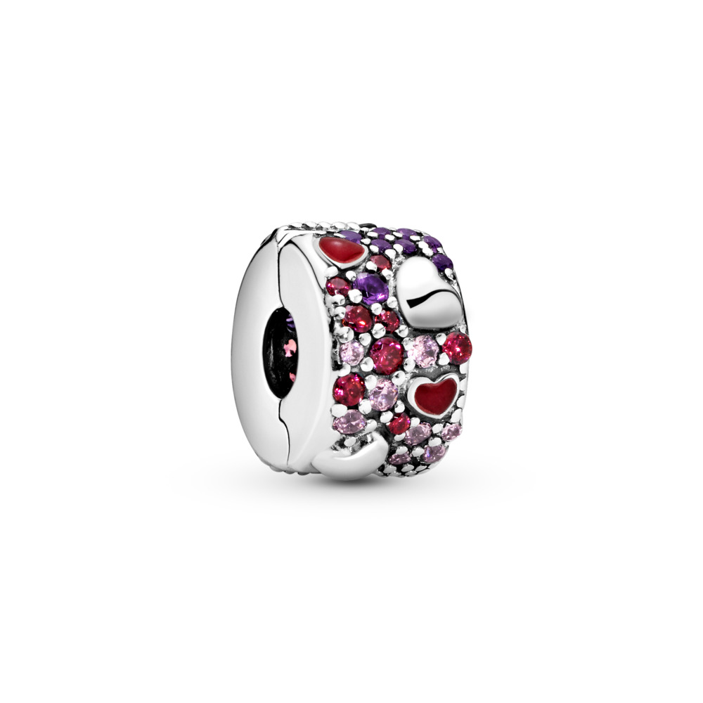 Asymmetric Hearts of Love Charm, Red & Pink CZ, Royal Purple Crystals, Crimson Red Enamel, Sterling silver, Enamel, Mixed stones - PANDORA - #797838CZRMX