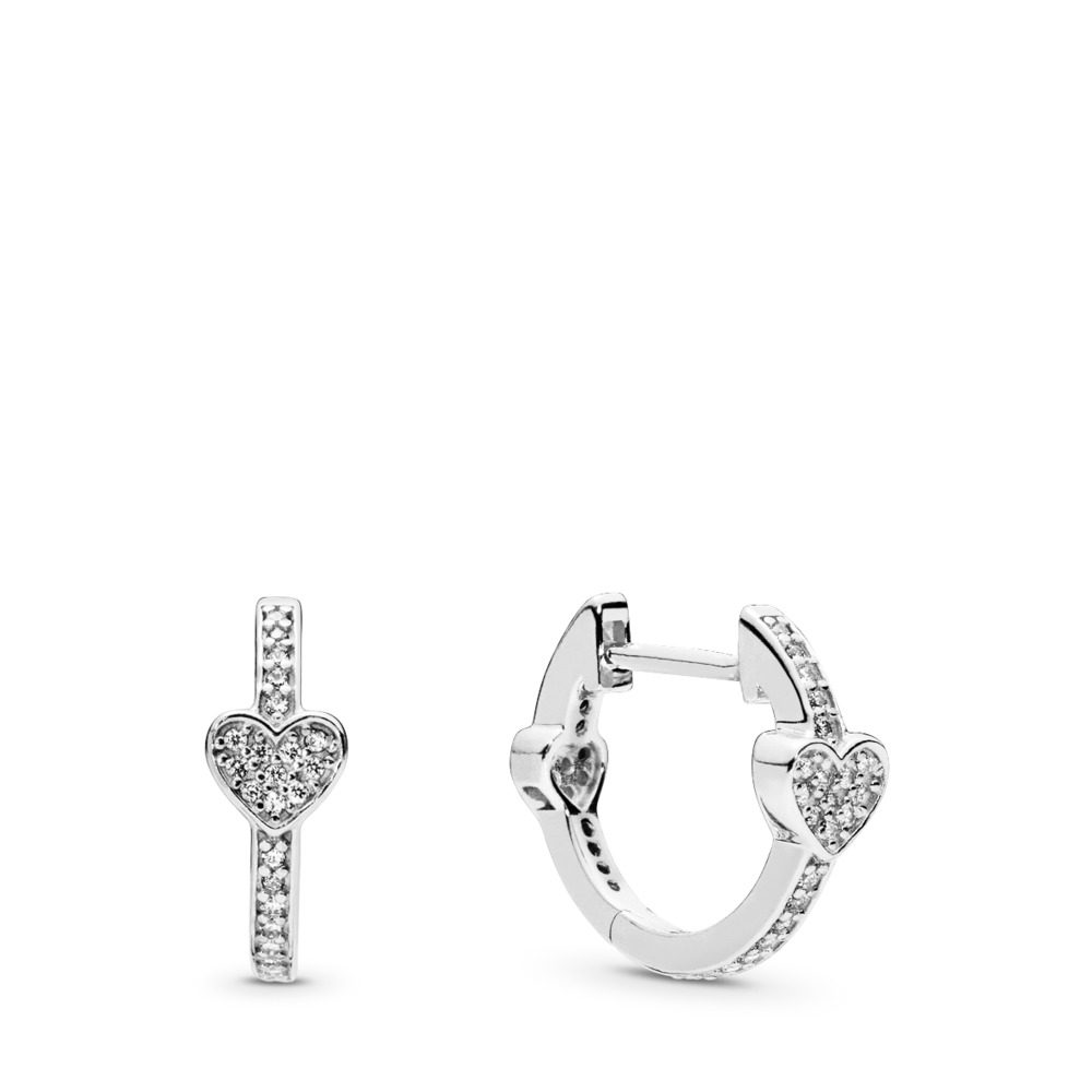 def590994 Alluring Hearts Hoop Earrings, Clear CZ, Sterling silver, Cubic Zirconia -  PANDORA -