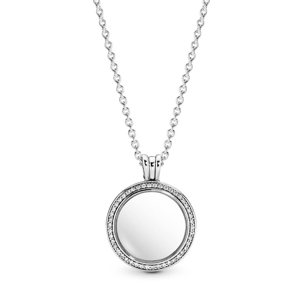 Sparkling PANDORA Locket, Medium, Sapphire Crystal Glass & Clear CZ, Sterling silver, Glass, Cubic Zirconia - PANDORA - #396484CZ