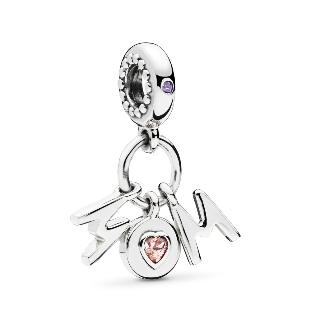 Perfect Mom Dangle Charm, Soft Pink & Lilac Crystal, Sterling silver, Pink, Crystal - PANDORA - #797059NSP
