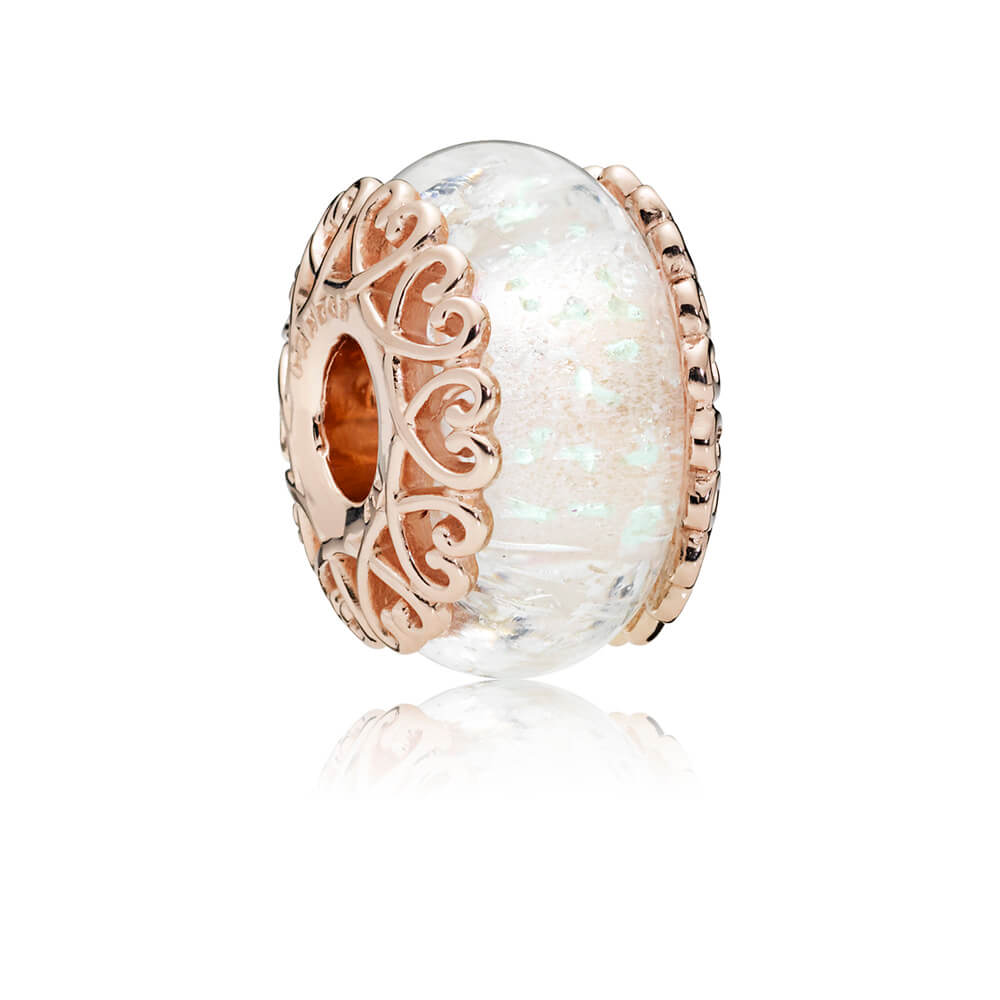 Iridescent White Glass Charm, PANDORA Rose™