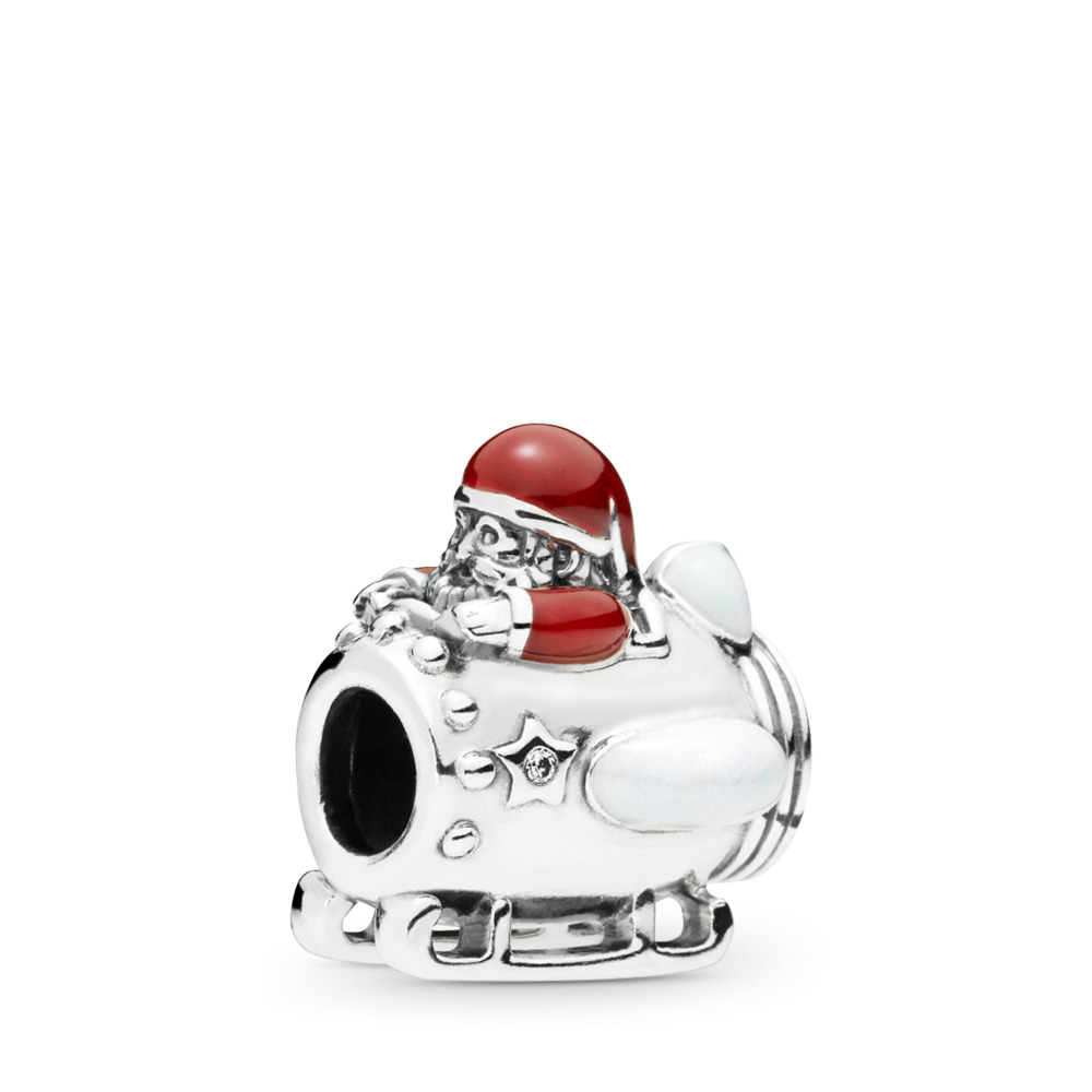 Santa in Space Charm, Clear CZ & Multi-Colored Enamel, Sterling silver, Enamel, Red, Cubic Zirconia - PANDORA - #797511ENMX
