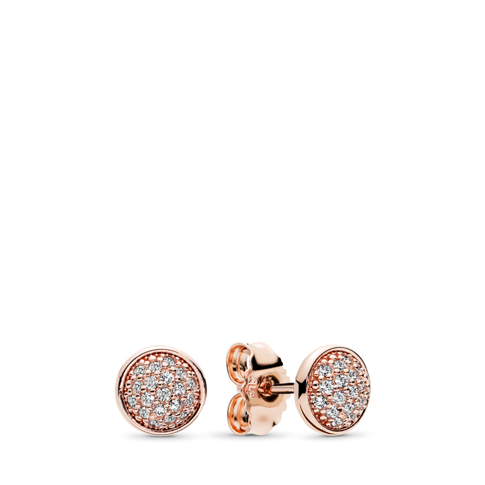 Dazzling Droplets Stud Earrings, PANDORA Rose™ & Clear CZ, PANDORA Rose, Cubic Zirconia - PANDORA - #280726CZ