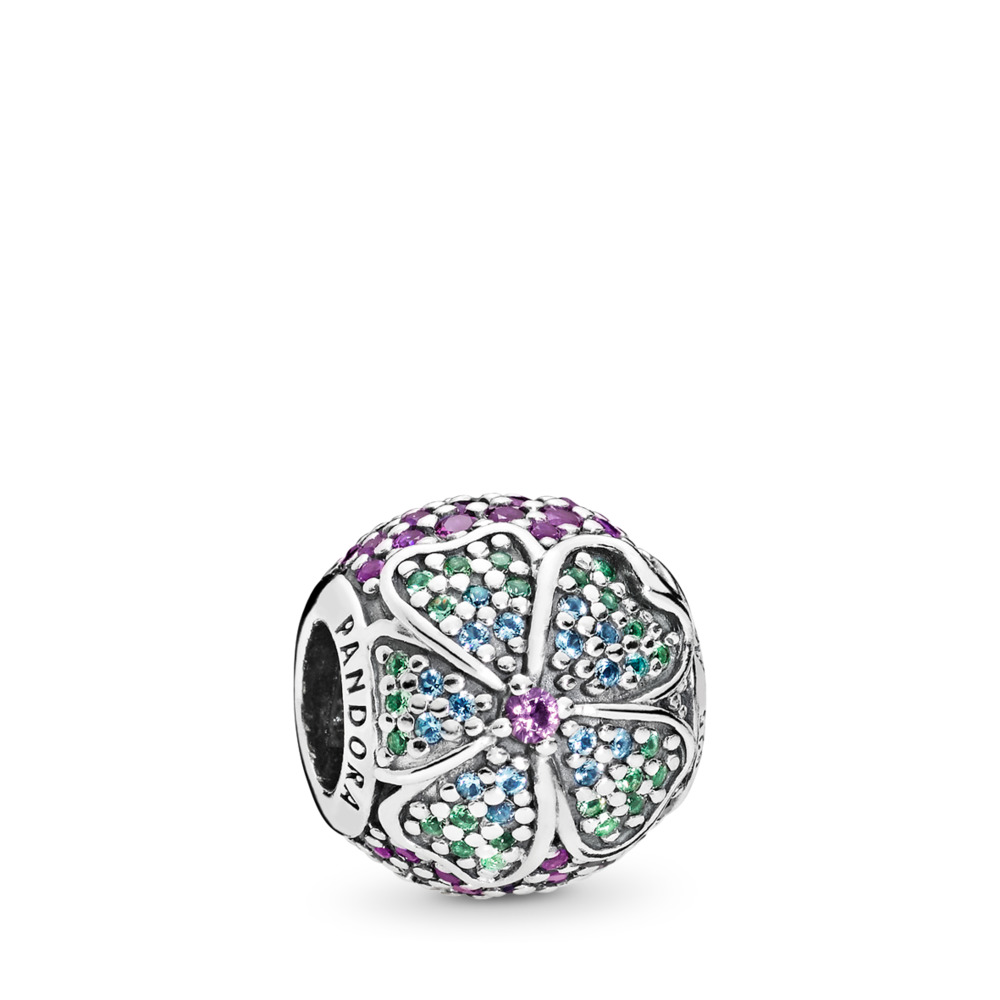 Glorious Bloom, Multi-Colored CZ, Sterling silver, Blue, Crystal - PANDORA - #797067NRPMX