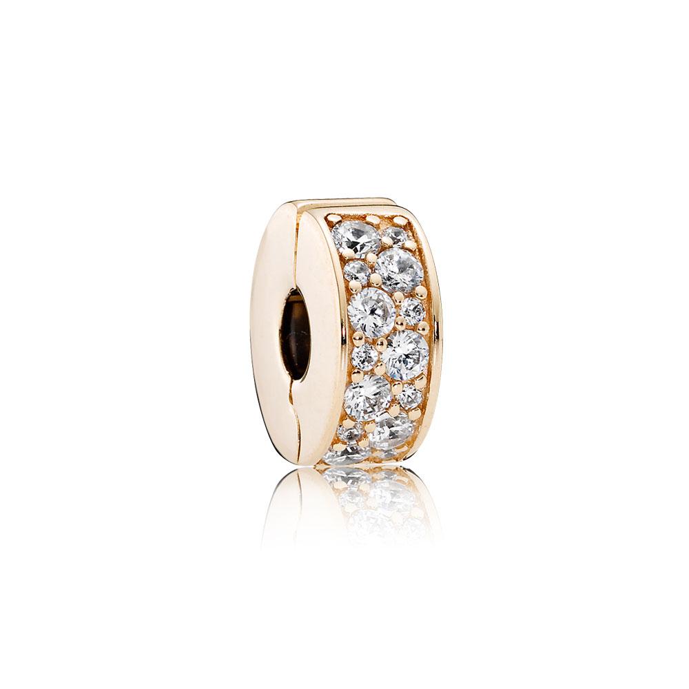 Shining Elegance Clip, 14K Gold & Clear CZ