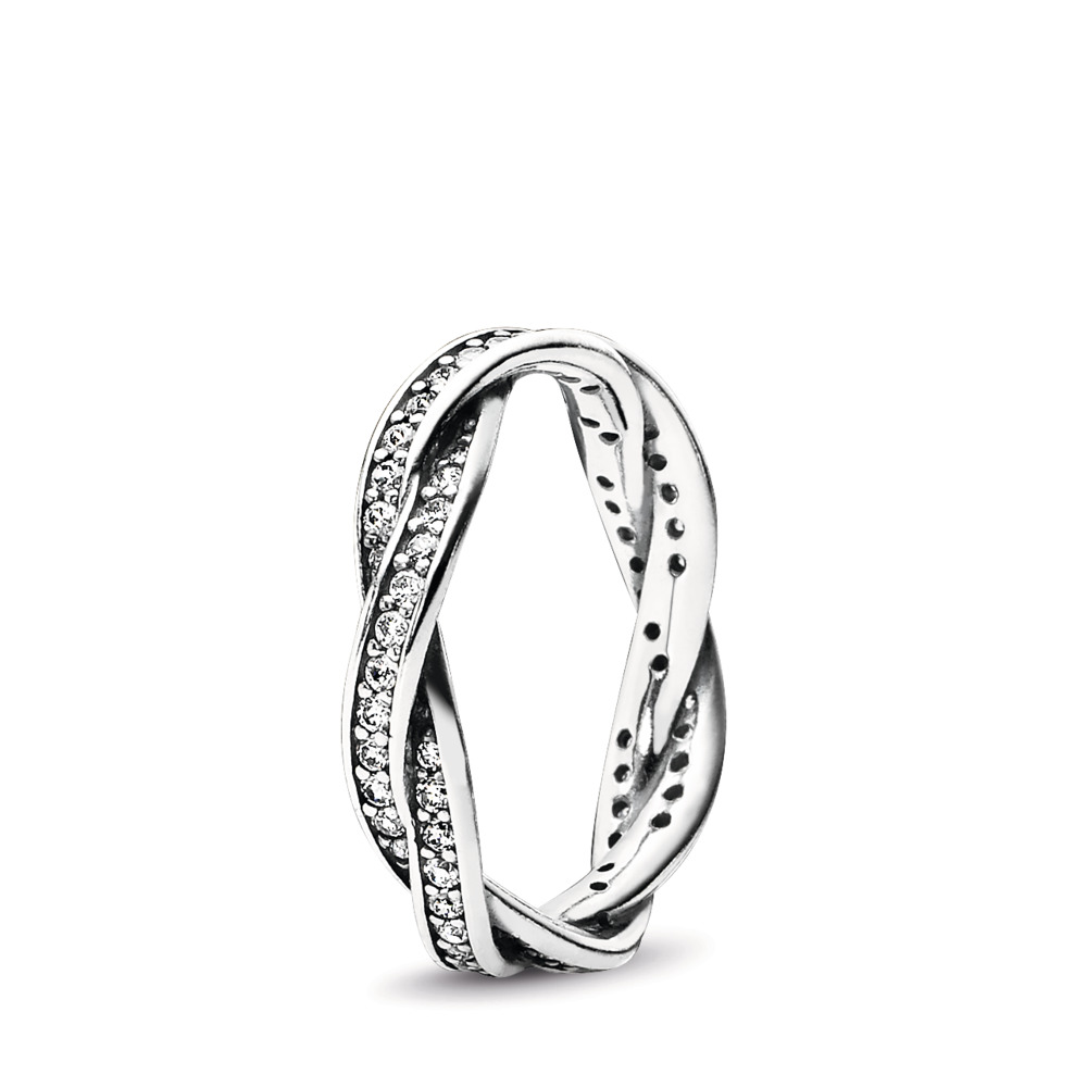 Twist Of Fate Stackable Ring, Clear CZ, Sterling silver, Cubic Zirconia - PANDORA - #190892CZ