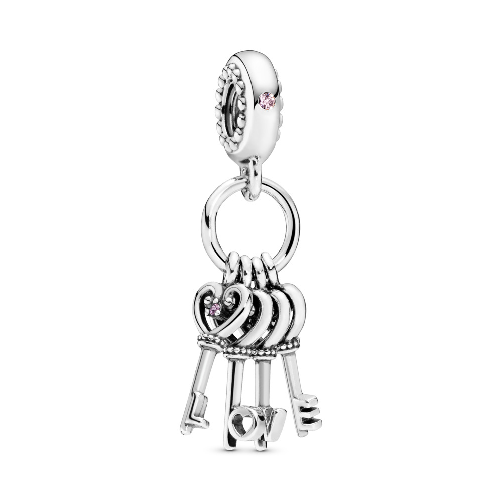 Keys of Love Dangle Charm, Red CZ & Multi-Colored Crystals, Sterling silver, Blue, Mixed stones - PANDORA - #797654NPMMX
