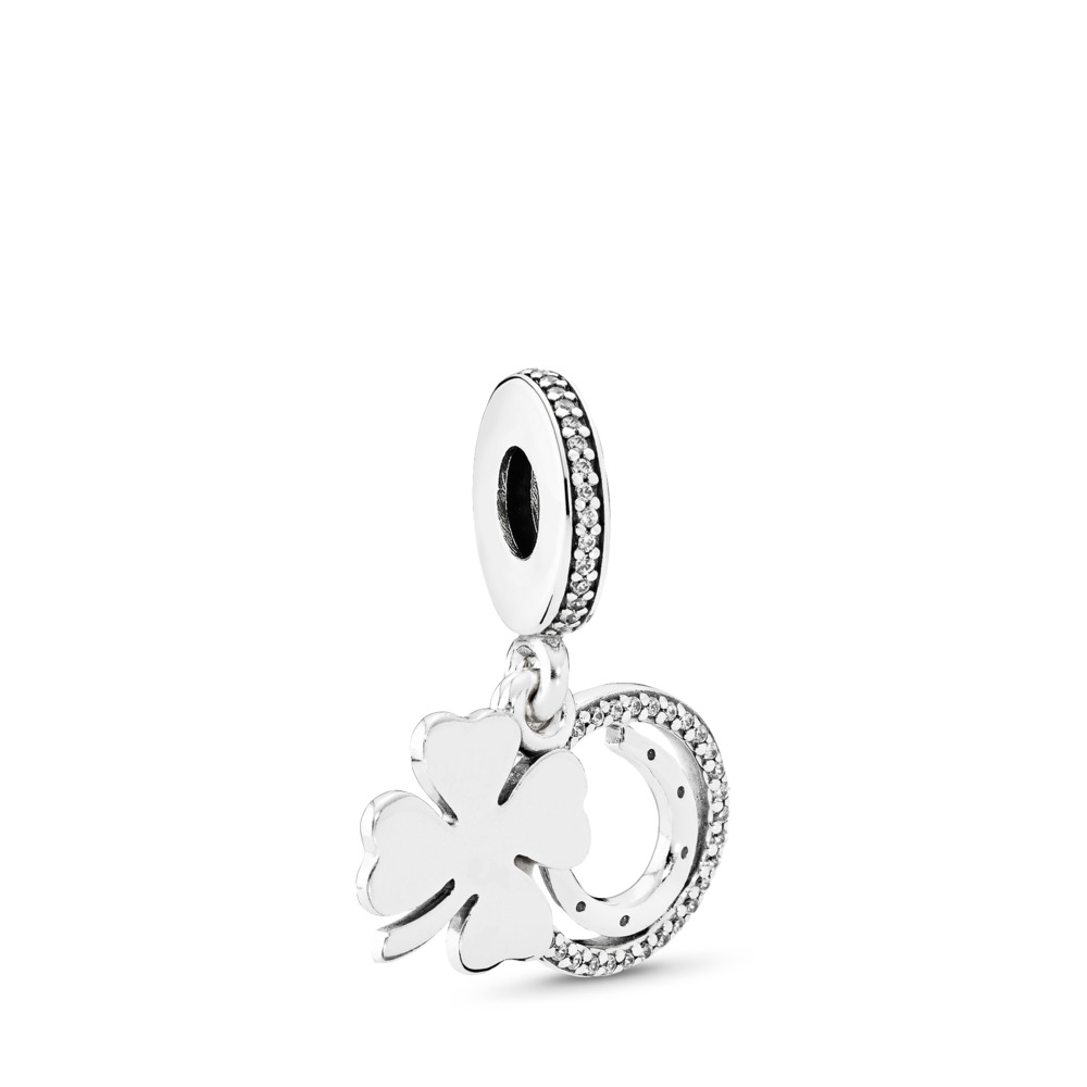 Lucky Day Dangle Charm, Clear CZ, Sterling silver, Cubic Zirconia - PANDORA - #792089CZ